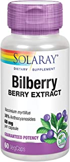 Solaray Bilberry Berry Extract 60 mg   Powerful Antioxidant   Healthy Vision & Circulation Support   60 VegCaps