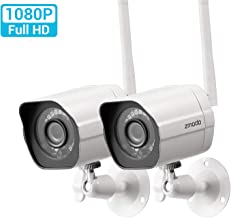 Zmodo Outdoor Security Camera (2 Pack), Smart Home 1080p Full HD Indoor Outdoor Wireless IP Cameras with Night Vision, Cloud Service Available