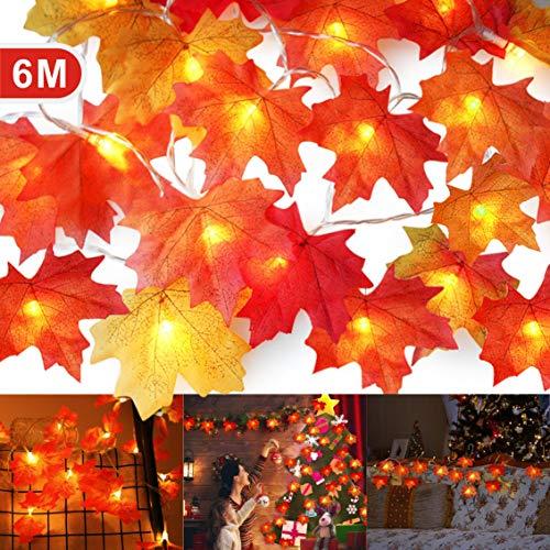 Guirnaldas de Luces de Arce Artificial, Idefair 6M 40 LED Guirnaldas Decoracion, Decoracion Otoño para Halloween Calabazas Decorativas Habitacion Arbol De Navidad Interior Cadena De Luces Fiesta