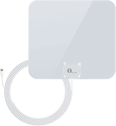 1 BY ONE Thin and Shiny Indoor HDTV Antenna, Range with 16.5 Feet Extra Long High Performance Coaxial Cable 25 Miles 25 Miles White