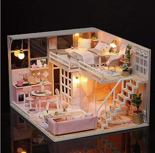tienda de venta en línea XUXIAOXU666-Houses Mini casa de muñecas casa de de de muñecas DIY corazón Modelo Hecho a Mano Regalo Creativo Juguete de Madera Regalo de cumpleaños Regalo de Juguete  precio al por mayor