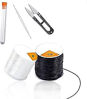 langjiao 0,8 mm Cordons elastique pour braceletBijoux *50 m noir et 50 m de fil extensible transparent pour fabrication de...