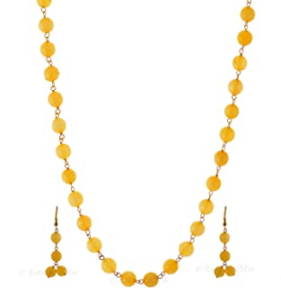 Yellow Color Chain Necklace Set with Earrings, Daily-Party-Office-Casual-Wedding wear Jewelry for Girls/Women, Wholesale Price, Prepared Exclusively by Ratnagarbha.