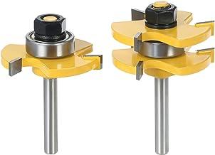 """2PCS 3/4""""Stock 1/4"""" Shank Tongue & Groove Router Bit Set 3 Dentes T-shape Fresador de madeira para ferramentas de madeira"""