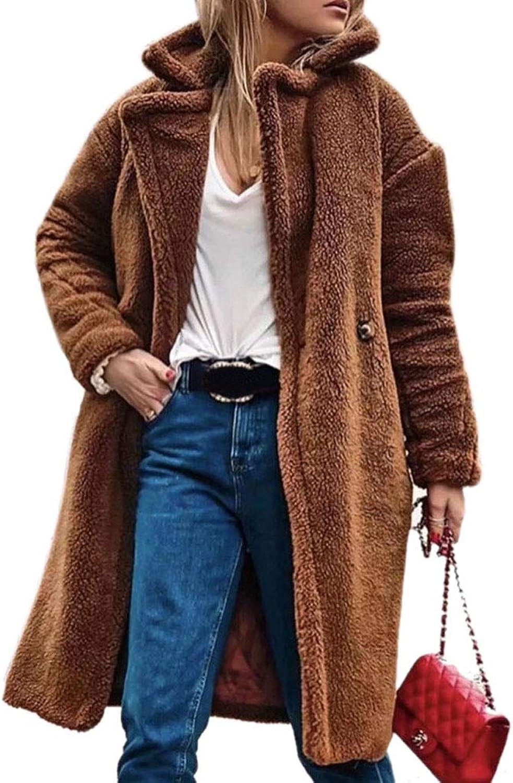 HongHu Women's Winter Warm Loose Oversized Long Fleece Jacket Coat Outwear