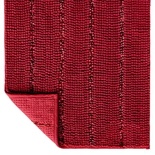 Tayis Alfombras de baño Antideslizantes y Absorbentes Alfombrillas de baño Chenilla Gruesas Extra Suaves Lavable para Baño Ducha Cocina, 50x80 cm, Rojo