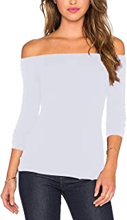 Women's Sexy Slim Fit Stretchy Off Shoulder Long Sleeve Blouse Tops Shirt