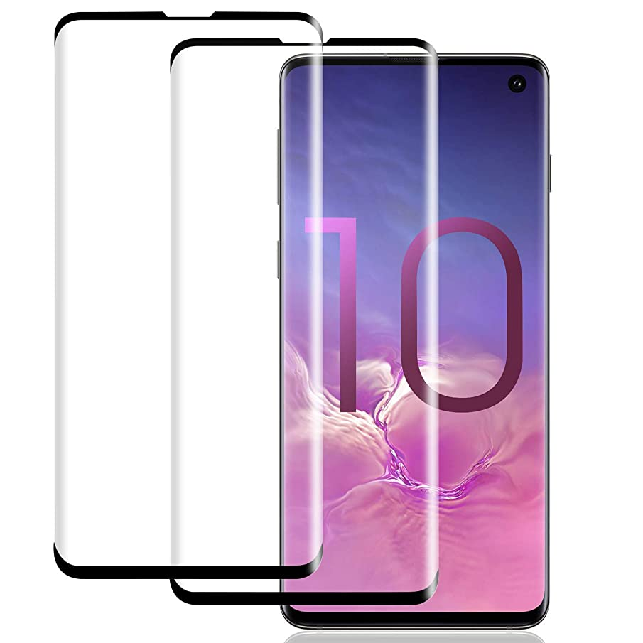 Galaxy S10 Screen Protector [2 Pack], S10 Tempered Glass [HD Clear][No Bubbles][9H Hardness][Support Fingerprint Unlok] Tempered Glass Screen Protector Compatible with Samsung Galaxy S10 (6.1'')