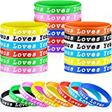 30 Pieces Jesus Loves You Silicone Wristbands Rubber Bracelets Colorful Jesus Loves You Silicone Bracelet Christian Rubber Wristbands for Novelty Jewelry Party Favors, Easter Baskets Fillers