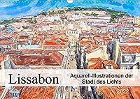 Lissabon - Aquarell-Illustrationen der Stadt des Lichts (Wandkalender 2022 DIN A3 quer): Stadtansichten der Sehenswuerdigkeiten und seiner Menschen (Monatskalender, 14 Seiten )