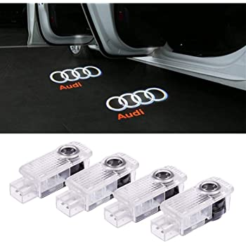 Car Door LED Logo Lights Projector Ghost Shadow Light Welcome Symbol Emblem Lighting for Audi A4 A3 A6 Q7 Q5 A1 A5 TT A8 Q3 A7 R8 RS 4 Packs