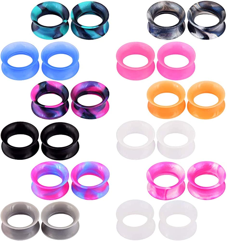 Glupez 24PCS Soft Silicone Ear Gauges Flesh Tunnels Plugs Stretchers Expander Double Flared Flesh Tunnels Ear Piercing Jewelry