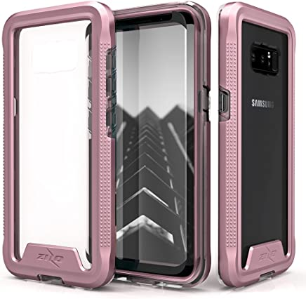 Zizo ION Series Compatible with Samsung Galaxy Note 8 Case Military Grade Drop Tested with Tempered Glass Screen Protector Rose Gold Clear