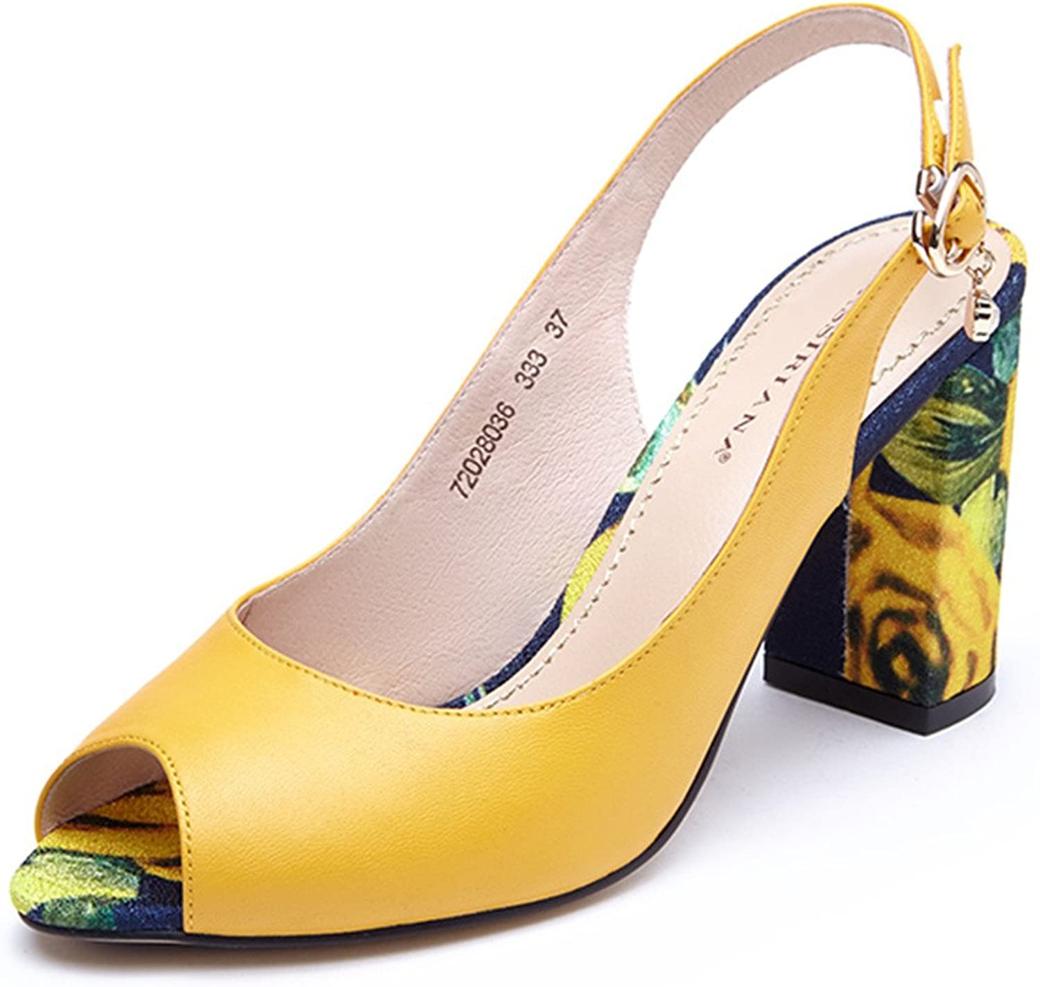 Ivan Johns Sandals Women Summer New New Leather shoes Woman High Heels Open Toe Back Strap Yellow White 35-40