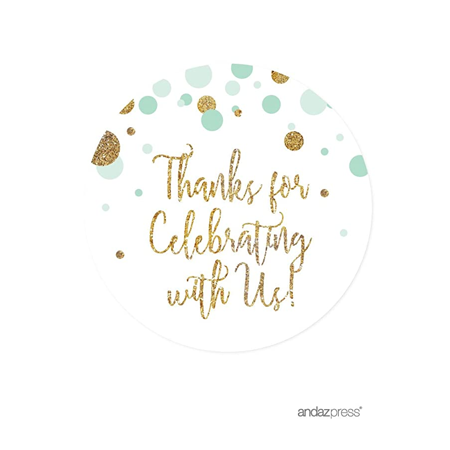 Andaz Press Mint Green Gold Glitter Boy Baby Shower Party Collection, Round Circle Label Stickers, Thank You for Celebrating with US, 40-Pack