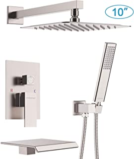 EMBATHER Shower System with Waterfall Tub Spout 10 inch Shower Tub Faucet Set wiht Rain Showerhead and Handhled,Brushed Nickle(Contain Rough-in Valve Body and Trim)