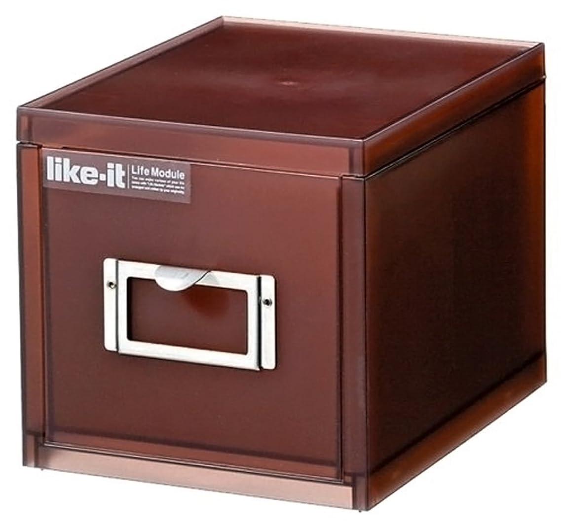 性差別オールクアッガlike-it 小物収納 A6 カードケース 深型 1段 ブラウン 幅14.5x奥20.1x高14.5cm LM-70