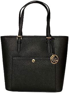 Michael Kors Jet Set Item Medium Top Zip Saffiano Leather Snap Pocket Tote - Black