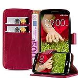 Cadorabo Custodia Libro per LG G2 Mini in Rosso Vinaccia - con Vani di Carte, Funzione Stand e Chiusura Magnetica - Portafoglio Cover Case Wallet Book Etui Protezione