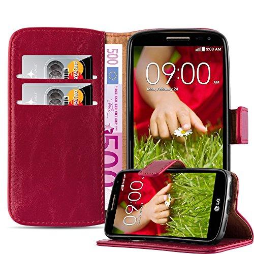Cadorabo Hülle für LG G2 Mini in Wein ROT – Handyhülle mit Magnetverschluss, Standfunktion und Kartenfach – Case Cover Schutzhülle Etui Tasche Book Klapp Style