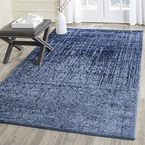 Safavieh Retro Collection RET2770-6065 Modern Abstract Light Blue and Blue Square Area Rug (6' Square)