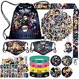 Demon Slayer Manga Gift Set, Japan Anime Design,Including Drawstring Bag Backpack, Face Masks, Demon Slayer Stickers, Lomo Cards, Button Badge, Bracelets, Lanyard, Keychain Kamado Tanjirou/Nezuko Zenitsu Inosuke