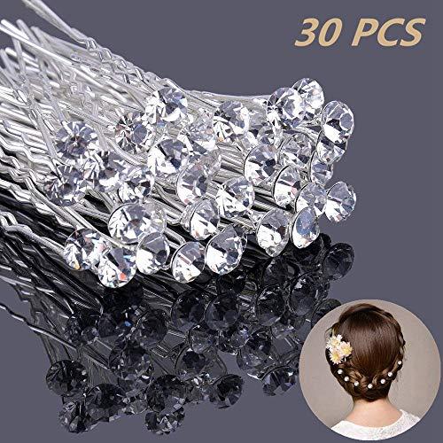 Ealicere 30 Stück Haarnadeln mit Kristall für Hochzeit Braut Haarschmuck, U-förmig Strass Haarnadel für Kommunion Party, Haarspange Für Frauen und Mädchen