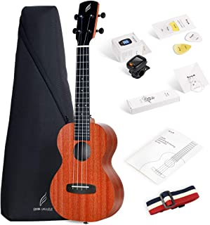 Enya Concert Ukulele 23 inch Kit in Mahogany Pattern Beginner Ukulele with Online Lessons,Padded Ukulele Bag,Tuner, Aquila Strings,Strap,Picks and a Ukulele Booklet EUC-X1M