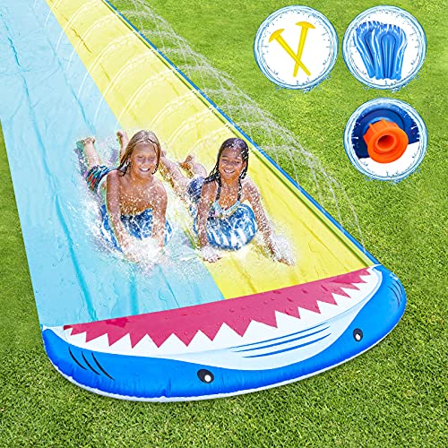 RenFox Slip and Slide, 16FT Inflatable Splash Water Slides with 2 Racing Lanes & Body Boards for Kids Boys Girls, Outdoor Summer Water Toys for Backyard Garden Lawn