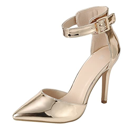 e27516dcca76 Cambridge Select Women s D Orsay Closed Pointed Toe Buckled Ankle Strap  Stiletto High Heel Pump