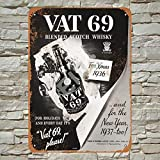 Ellis 1936 Vat 69 Scotch Whiskey Vintage Retro Metal Estaño Sign Decoración de Pared para Tienda Hombre Cueva Bar Home Garage