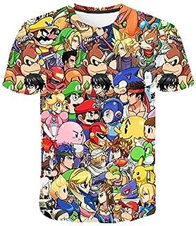 YANTING 3d T Shirt Cartoon Super Mario 3D Print T-shirt Funny Drugs Casual Gamer O Neck 3d Tshirt T Shirts Tops men's short sleeve t-shirt (Color : 1870, Size : 5XL)