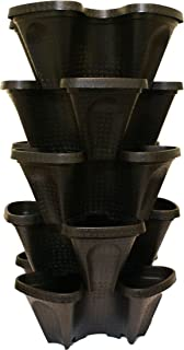 Large 5 Tier Vertical Garden Tower - 5 Black Stackable Indoor/Outdoor Hydroponic and Aquaponic Planters (24 Quart Tower - ...