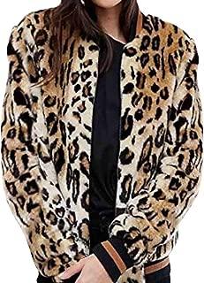 Clearance ❤ Women Coat JJLIKER Retro Leopard Print Faux Fur Bomber Jacket Zipper Short Outwear