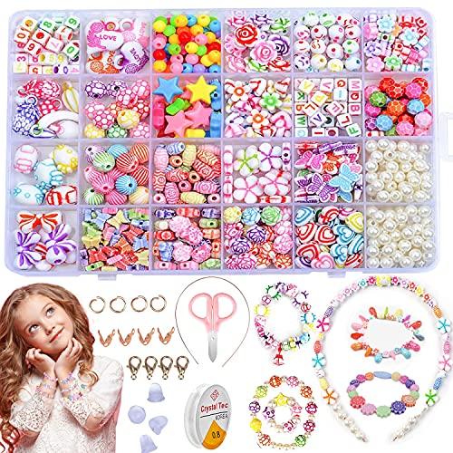 Perlenset Kinder, Armband perlen Kinder, Schmuck Selber Machen für Kinder, Perlenset Mädchen, Perlenschmuck Schmuckbasteln, Kids' Craft Geburtstagsgeschenk, Geburtstagsgeschenk für Mädchen