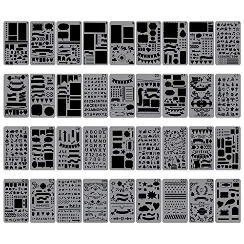Biubee 36 Pcs Plastic Stencils Over 1500 Different Patterns - 4' x 7' Plastic Planner Stencils Drawing Templates Set for Notebook, Diary, DIY Scrapbook