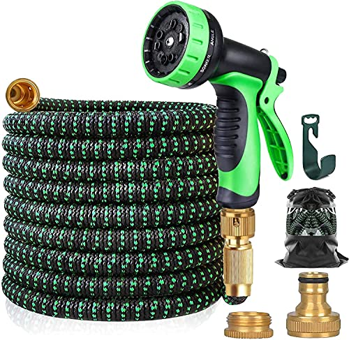 100FT Garden Hose with 10 Modes Spray Gun, Watering Plants, Cleaning Gardens, Showering Pets, Washing Car…