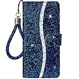 CTIUYA Schutzhülle für Samsung Galaxy S9 Plus, Hülle Handyhülle Glitzer Case Tasche PU Leder Klapphülle Glänzend Glitter Brieftasche mit Kartenfach Flip Cover Handytasche für Galaxy S9 Plus,Blau
