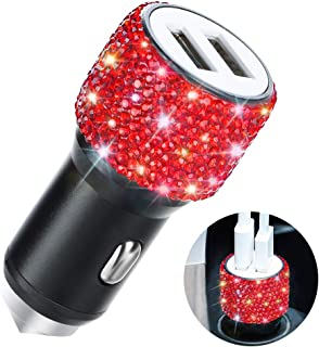 Dual USB Car Charger,SAVORI Car Adapter Bling Bling Rhinestones Crystal Car Decorations for Fast Charging Car Decors for iPhone Xs Max X Plus, iPad Pro/Mini, Samsung (Bling Red)