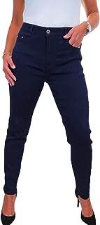 icecoolfashion Jeans Donna in Denim Morbido Molto Elastico A Vita Alta Tinta Unita 42-54