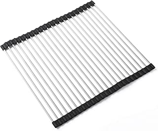 """BONOW Roll Up Dish Drying Rack 17.7""""x16.1"""", 304 Stainless Steel Portable Over The Sink Dish Drying Rack Foldable Rollable for Drying Draining(Black)"""