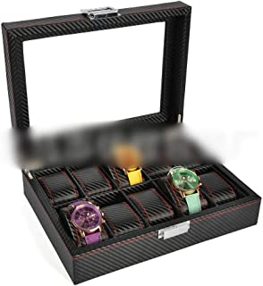 Watch 6 Slot Watch Display Box Watch Storage Box with Pillows Holders Watch, Fashion Watch (Color : Black-10)