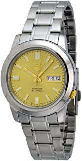 Seiko 5 SNKK13 Men's Stainless Steel Gold Dial Self Winding Automatic Watch