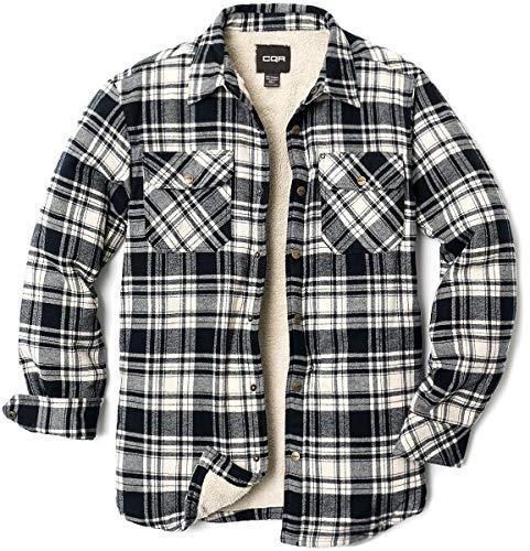 CQR Herren Sherpa gezeichneter Flanellhemd Jacke, weiche Langarm Rugged Plaid Button Up Jacke, Hok710 1pack - Off Black, XXL