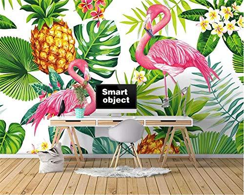 Planta Tropical Nórdica Pintada A Mano Flamingo Tv Sofá Fondo Pared Moda 3D Papel Tapiz Foto Mural,300Cmx210Cm