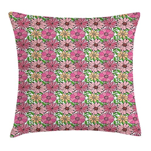 Queolszi Floral Throw Pillow Cushion Cover, Medley of Hand Drawn Pinky Spring Flowers of Chrysanthemum Daisy and Lobed Leaves, Decorative Square Accent Pillow Case, 18 X 18 inches, Multicolor