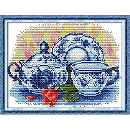Die Ewige Liebe Seladon Teekanne Chinesisch Kreuzstich Kits Ökologische Baumwolle Gestempelt Printed14CT DIY Weihnachtsgeschenke For Zuhause Kreuzstich-Malerei