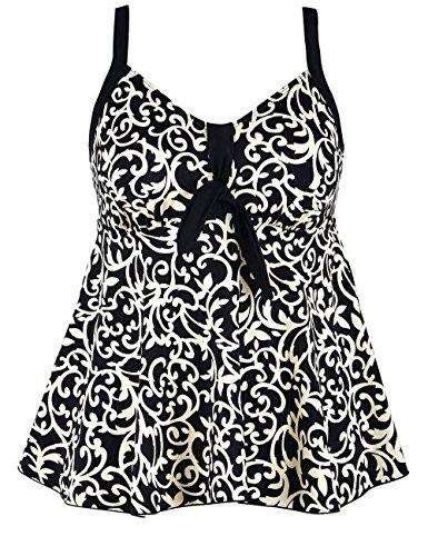 Hilor Women's Flowy Tankini Set Tie Front Two Piece Swimsuits with Swim Briefs Beige Floral 10