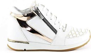 Hakiki Deri Beyaz Gizli Dolgu Topuklu Bayan Spor Ayakkabı Pe-Ferm