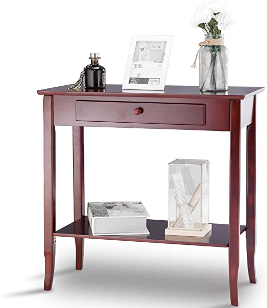 KCHEX Console Table Classic 2 Tier Porch Table Lower Shelf Drawer Cherry ColoThis Is A Classic Rectangle Porch Table With 2 Tier Design